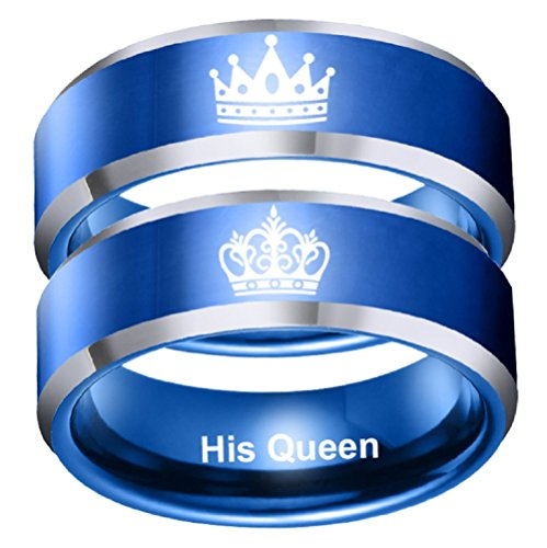 8mm Her King Ring Blue Stainless Steel Ring Mens Engagement Wedding Band Anniversary Christmas Gifts (Her King, Size 10)