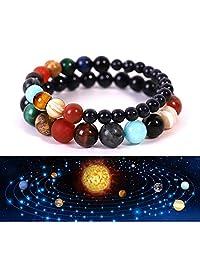 PSEEHEE Solar System Galaxy Universe 9 Planets Star Chakra Bracelet, Anxiety Relief Gemstones Handmade Bead Bracelets