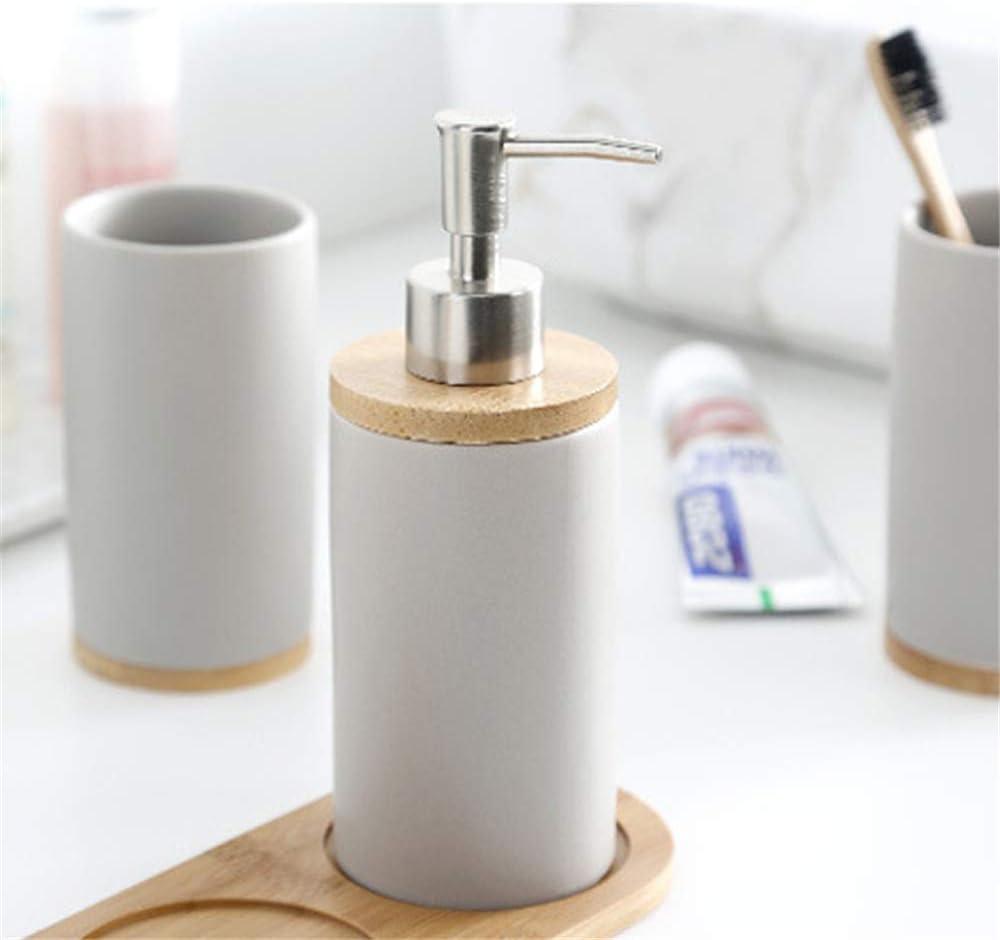gobelet Porte-Brosse /à Dents A Distributeur de Savon pour Dentifrice en Bambou DAYOLY Ensemble daccessoires de Salle de Bain en c/éramique