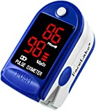 LotFancy Fingertip Pulse Oximeter with Alarm - FDA Approved Blood Oxygen Meter SpO2 Monitor with Lanyard (Dark Blue with LED Display)