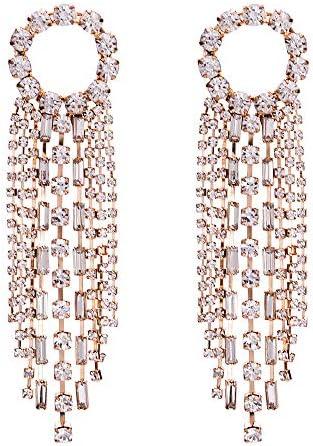 Aymsm Europäische und amerikanische Mode-Legierung voller geometrischer Ohrringe, langes Quasten-Design, Elegantes weibliches High-End-Gold