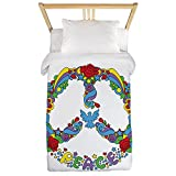 Twin Duvet Cover Pop Art Peace Symbol Flowers Stars