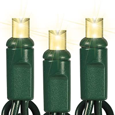 Warm White - 70 LED Bulbs - Wide Angle Lens - Length 23.3 ft. - Bulb Spacing 4 in. - Green Wire - Polka Dot Christmas Mini Light String - HLS 45693