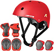 USTINE Kids Helmet Adjustable with Sport Protective Gear Set Knee Elbow Wrist Pads for Ages 3-10 Years Toddler