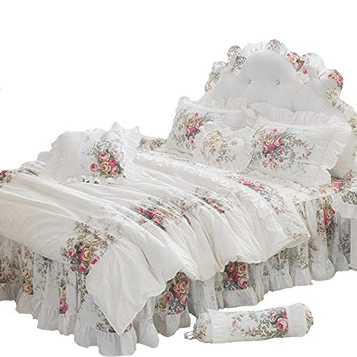 FADFAY Elegant And Shabby Vintage Rose Floral White Duvet Cover Bedskirt Lovely Lace and Ruffle Style Exquisite Craft 100% Cotton Hypoallergenic,Twin Size 4-Pieces