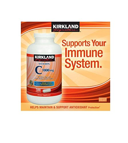 Kirkland Signature Vitamin C 1000mg, with Rose Hips 500 Tabs each (pack of 6) by Kirkland Signature
