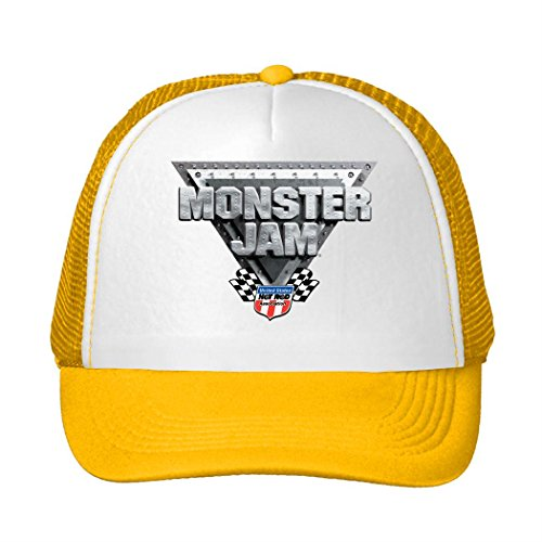 Woman Men Cotton Monster Jam Logo 2016 Adjustable Mesh Caps Yellow
