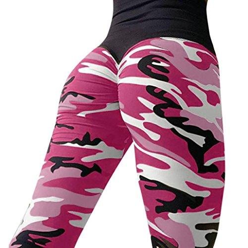 Camouflage Skinny Yoga Pants, Women's Ultra Soft Leggings Power Flex Workout Running Leggings Pants by E-Scenery (Hot Pink, Large) ()
