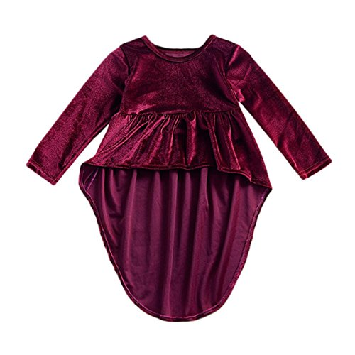 [Toddler Infant Kids Baby Girls Long Sleeve Solid Tops Dress Outfits Clothes (110/4T, Wine)] (Minnie Mouse Outfit Ideas)