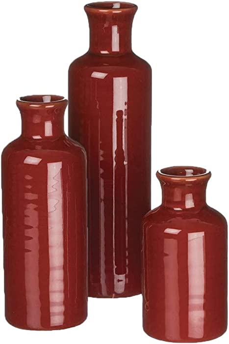 Sullivans Small Ceramic Vase Set, Rustic Home Décor, Set of 3 Vases, Red (CM2407)