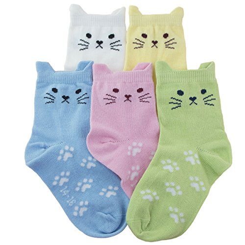 Tandi Kids Girls Cotton Novelty Cats Crew No Seam Socks - 8-11 Years/Little Kid 12M-2/18cm-20cm - Multicoloured (5 Pair) ()