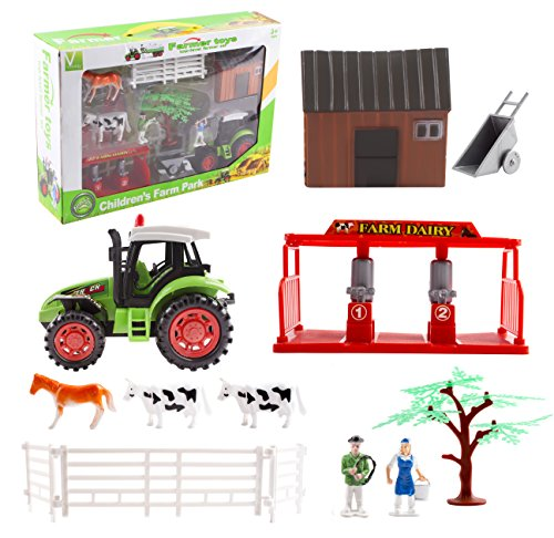 Farm Toy Farming Toy Fun Playset with Tractor, Farm Figure's, Cow, Horse, Tree, Road Signs, Milk Station, Barn, Wheel Barrow