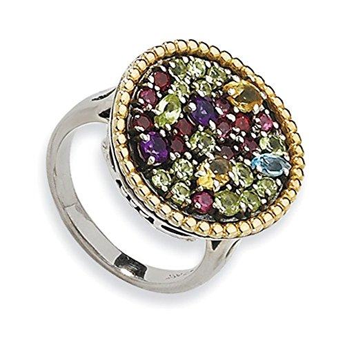 Tw Multi Gemstone Ring (Sterling Silver w/14k 1.88tw Multi Gemstone Ring Size 8)