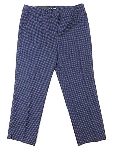 - Hilary Radley Womens Size 4 Slim Leg Dotted Capri Pants, Navy/Light Blue Dots