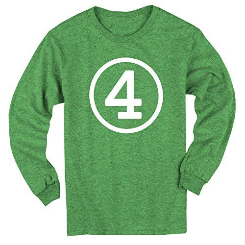 [Happy Family Clothing Big Boys' Fourth Birthday Green Heather Long Sleeve T-shirt (Youth XS (4/5), Green Heather)] (Long Sleeve Birthday Shirt)