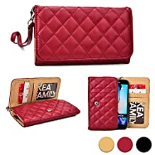Cooper Cases(TM) Quilted Women's Clutch BLU Advance 4.5, Dash 4.5/5.0, Neo 4.5, Sport 4.5 Smartphone Wallet Case in Maroon Red (Detachable Lanyard Strap; Credit Card/ID Slots, Slip Pockets)