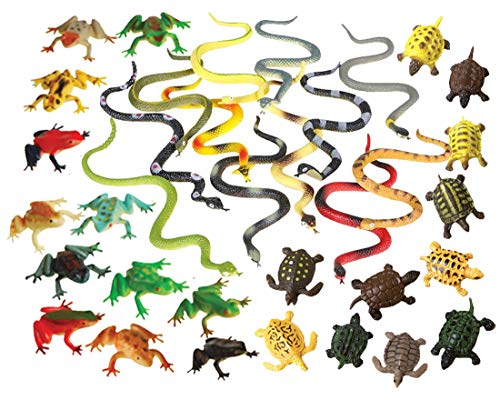 36 Piece Frogs, Turtles & Snakes Toy Animal Figures Bundle ()