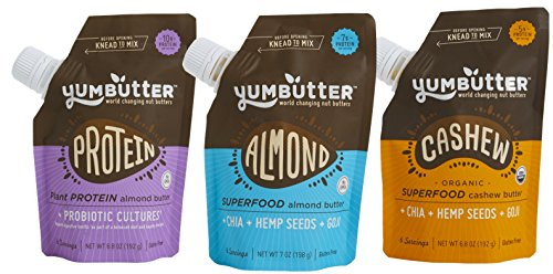 Yumbutter Nut and Seed Butter, Multi-Serving, Go-Anywhere pouch, 3 Count - Best Seller Three-Pack (Plant Protein + Probiotic, Superfood Almond Butter, Superfood Cashew Butter)