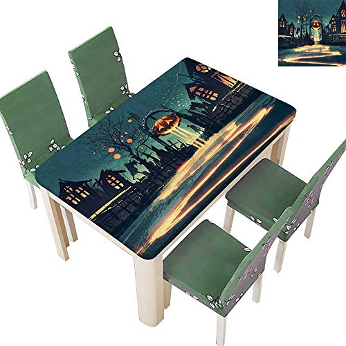 Printsonne Indoor/Outdoor Halloween Theme Night Pumpkin and House Ghost Town ful Teal Orange Kitchen Tablecloth Picnic Cloth 50 x 72 Inch (Elastic Edge) -