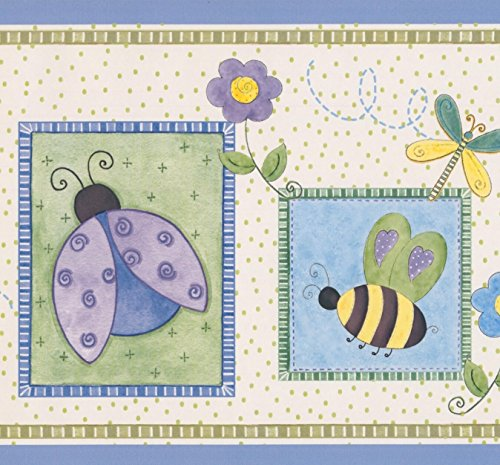 Stylized Bee Butterfly Flower Dragonfly Ladybug in Squares Purple Green White Kids Wallpaper Border Retro Design, Roll 15' x ()