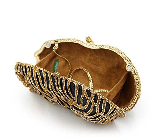 Mini Party Clubs Rhinestone Evening Clutch Tiger Bling Handbag Purse Gold for Bag Wedding Clutch rxvrwn716q