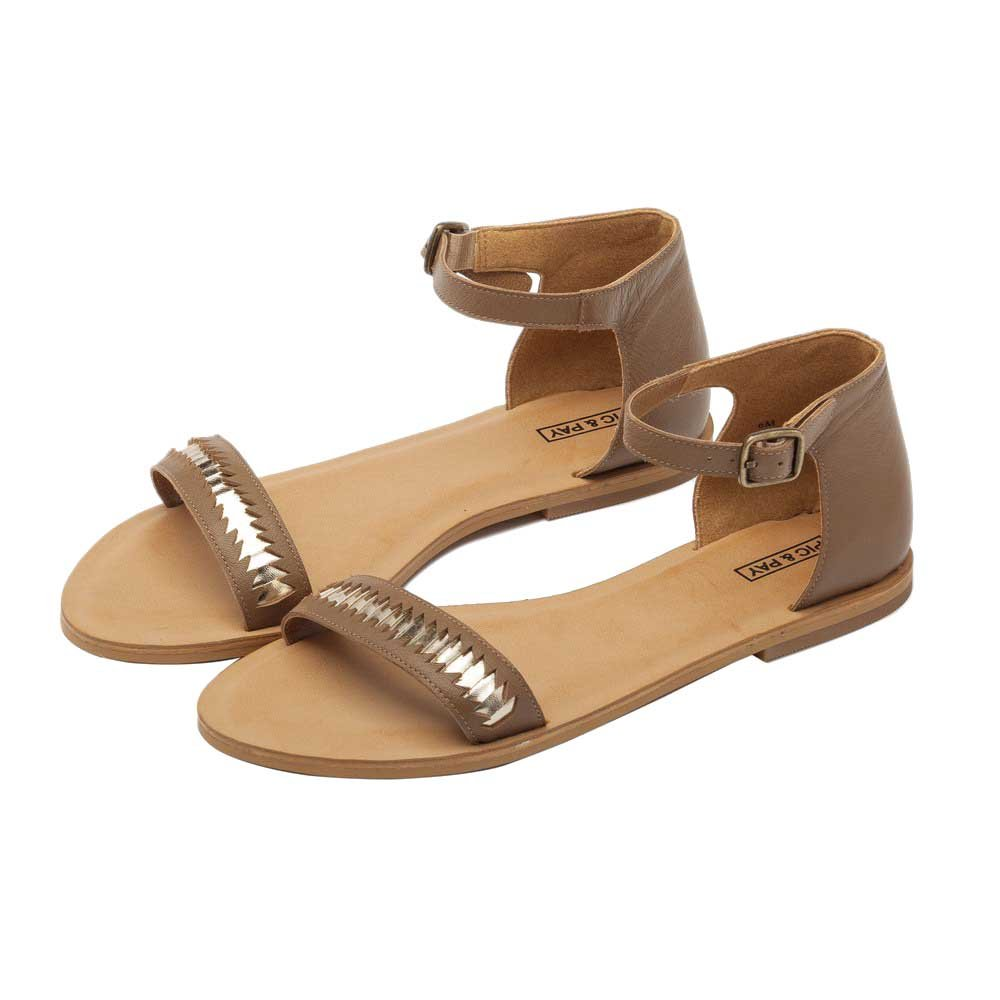 Bella Womens Sandals Leather Ankle Strap Flat Sandal Brown//Platino Leather 8.5M