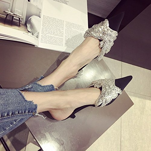 Chaussures Talons huit Paillettes Trente Avec Femme Noir Fins Baotou Et Chaussons Kphy rXw6rHOqR