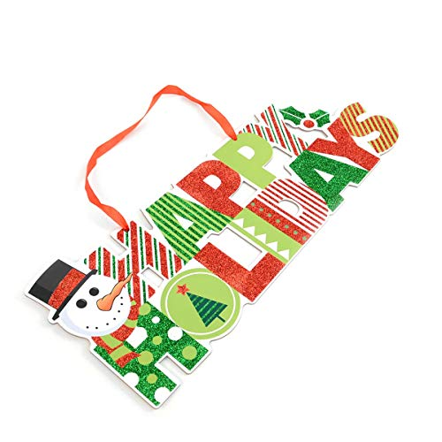 BG Christmas and Holiday Festive Glitter Snowman Green and Red Welcome Sign Home Décor ()