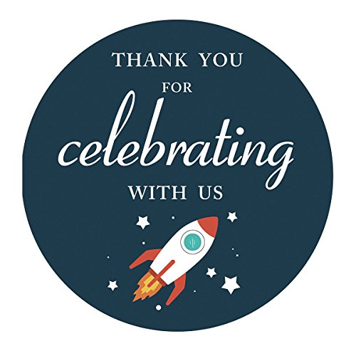 MAGJUCHE Space Thank You Stickers, Rocket Outer Space Birthday Party Favor Labels, 2 Inch, 40-Pack