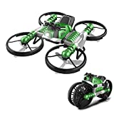 Lucoo Toy RC Car,Remote Control Car,Unique Helicopter 2-in-1 Folding Double Mode WiFi FPV Drone with HD Camera, Transforming Motorcycle Multi-Function Vehicles Motorcycle Drone Quadcopter (Green)