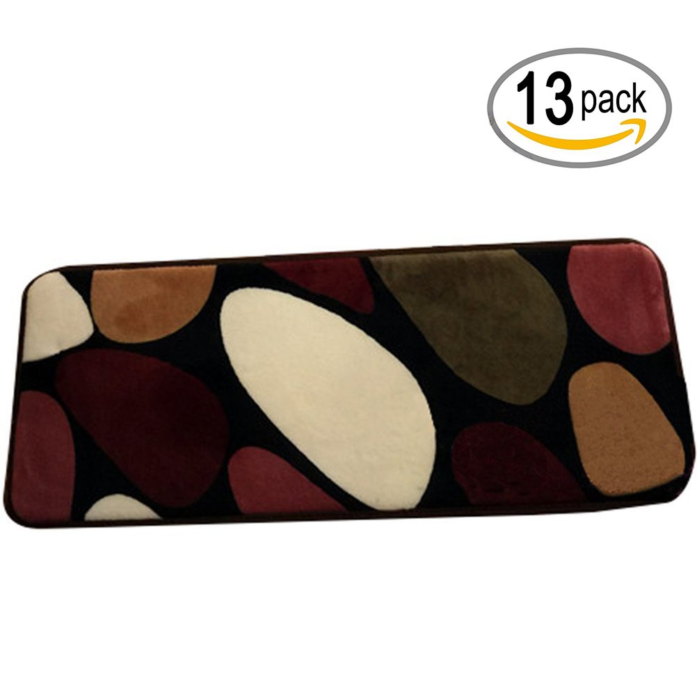 TINTON LIFE Rectangle Stair Rugs Pads Stepping Pads Stair Mats Non-Slip Carpet For Home Hotel Hall-Set of 13 (Colorful Pebbles, 15.75''7.87'')