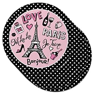 Set of 5 Round Love Paris Polka Dot Drink Coasters, Pink and Black