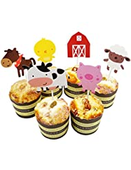 Lauren 24 Pcs Qute Farm Animal Cupcake Toppers Cake Decorating Tools for Birthday Party