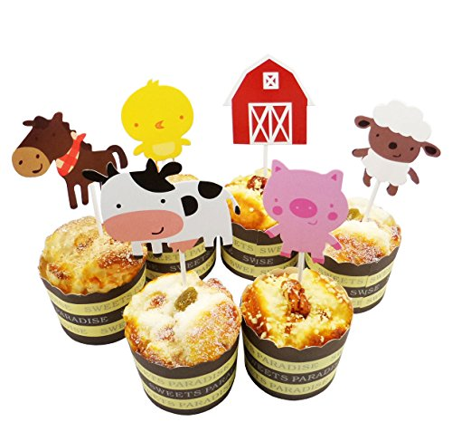 Lauren 24 Pcs QUTE Farm Animal Cupcake Toppers Cake Decorating Tools for Birthday Party]()