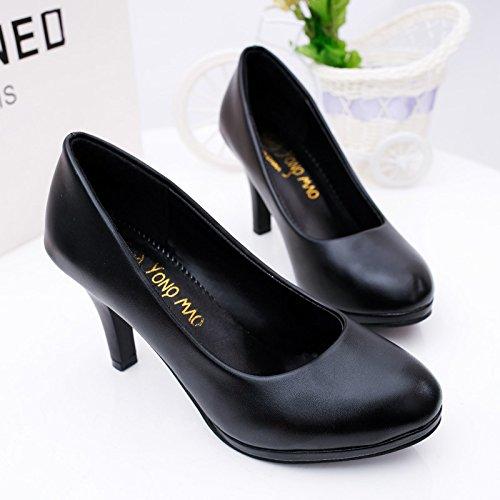 Zapatos Otoño Mujer A Nueva de Zapatos Solo de Hotel de Cabeza Redonda Tacón de Impermeable Mujer Etiquette de Zapatos ZHZNVX Taiwán Carrera Zapatos 39 fqxw4dtcx5