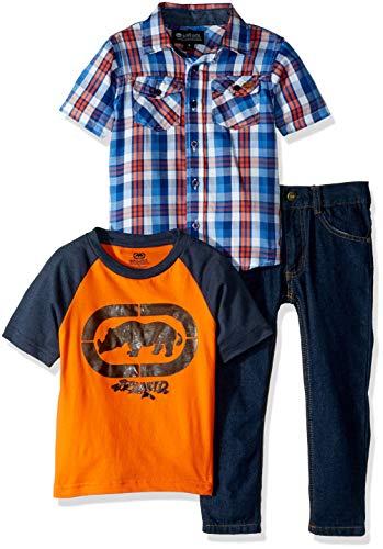 (Ecko Boys' Little Sport, T-Shirt Creeper Denim Jean Set, Multi Plaid, 5)