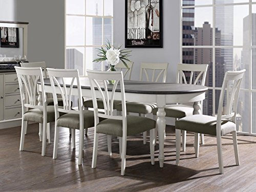 Coastlink Vegas Extension Oval Dining Table Set for 8 - Heritage Oval Back Chairs