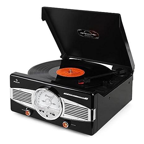 AUNA MG-TT-82B - estéreo , Tocadiscos , accionamiento por Correa , máx. 45 RPM , Altavoces estéreo , diseño de los años 50 , Play/Stop automático , ...