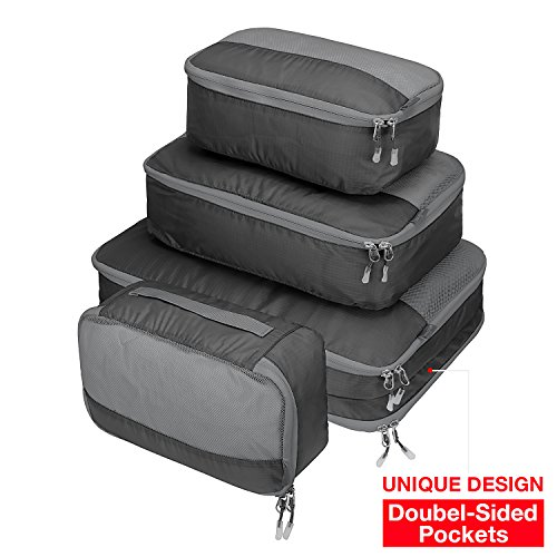 Cheap  Ultra Lightweight Packing Organizer Packing Cube Set 4pc Double-Sided 5 Pockets, MOOITEK..