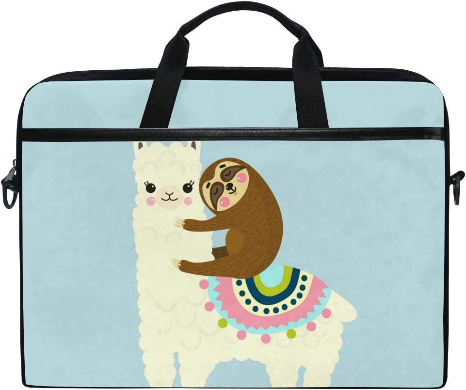 JOYPRINT Laptop Sleeve Case, Cartoon Llama Alpaca Sloth Animal 14-14.5 inch Briefcase Messenger Notebook Computer Bag with Shoulder Strap Handle for Men Women Boy Girls