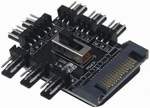 New PC IDE Molex 1 To 8 Way Splitter 3-Pin Cooling Fan Hub Power Socket Adapt FL