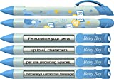 Baby Pen by Greeting Pen- Personalized Baby Shower Favor / Invitation and Birth Annoucement Pens - Baby Boy Blocks Rotating Message Pen 100 pack (P-BP-21-100)
