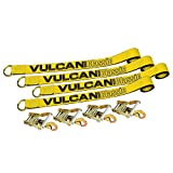 Vulcan Classic 2'' x 12' Yellow Classic Exotic Car Rim Tie Down (set of 4 straps and ratchets)