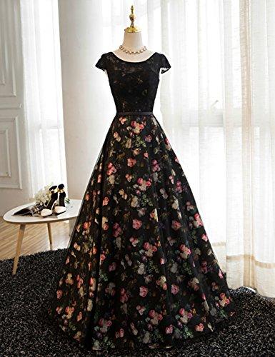 Abendkleider LuckyShe Ballkleid Elegant Spitze Schwarz Prinzessin mit Retro Lang Damen Floral x44q7wYr