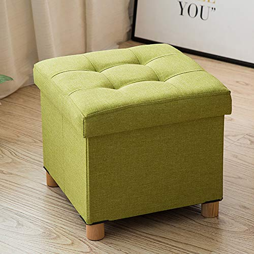 Foldable Storage Bench Ottoman Bench Seat Linen Foot Stool Storage Chest/Footrest/Padded Seat,Green by HSRG Storage