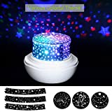 SlowTon Stars Sky Night Light Lamp, Romantic Rose Shape with Color Changing Moon Stars Cosmos Rotating LED Nightlight Projector for Kids Gift Baby Girl Bedroom (White)