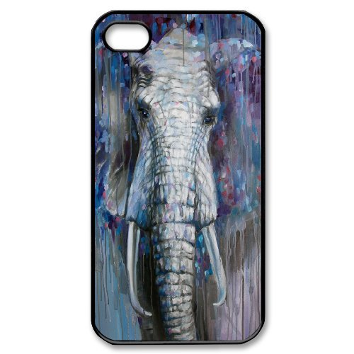 Alice iPhone 4,4s Case,Personalized Custom Abstract Colorful Elephant,Unique Design Protective TPU Hard Phone Case Cover