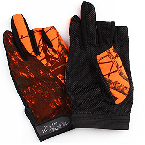 Isafish fishing hunting gloves camouflage color fingerless for Fishing sun gloves