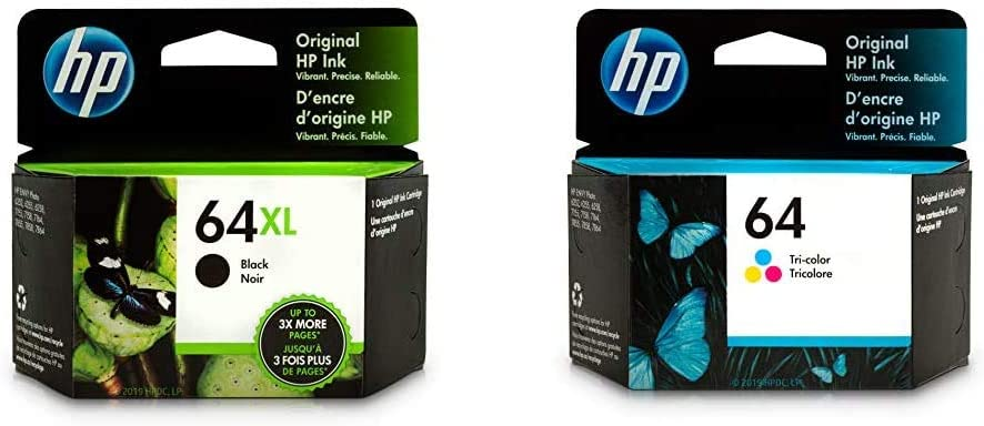 HP 64XL | Ink Cartridge | Black | N9J92AN & 64 | Ink Cartridge | Tri-Color | N9J89AN