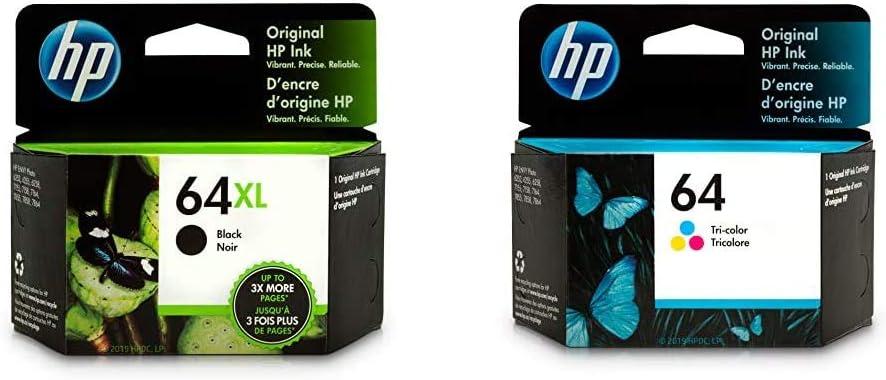 HP 64XL | Ink Cartridge | Black | N9J92AN & 64 | Ink Cartridge | Tri-Color | N9J89AN